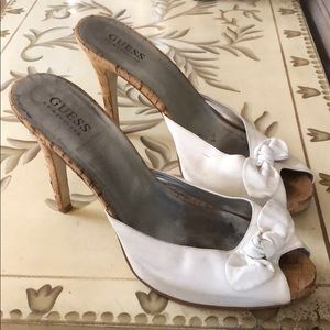 Guess Mule Heel with Bow Peek a-Boo Toe 8 1/2